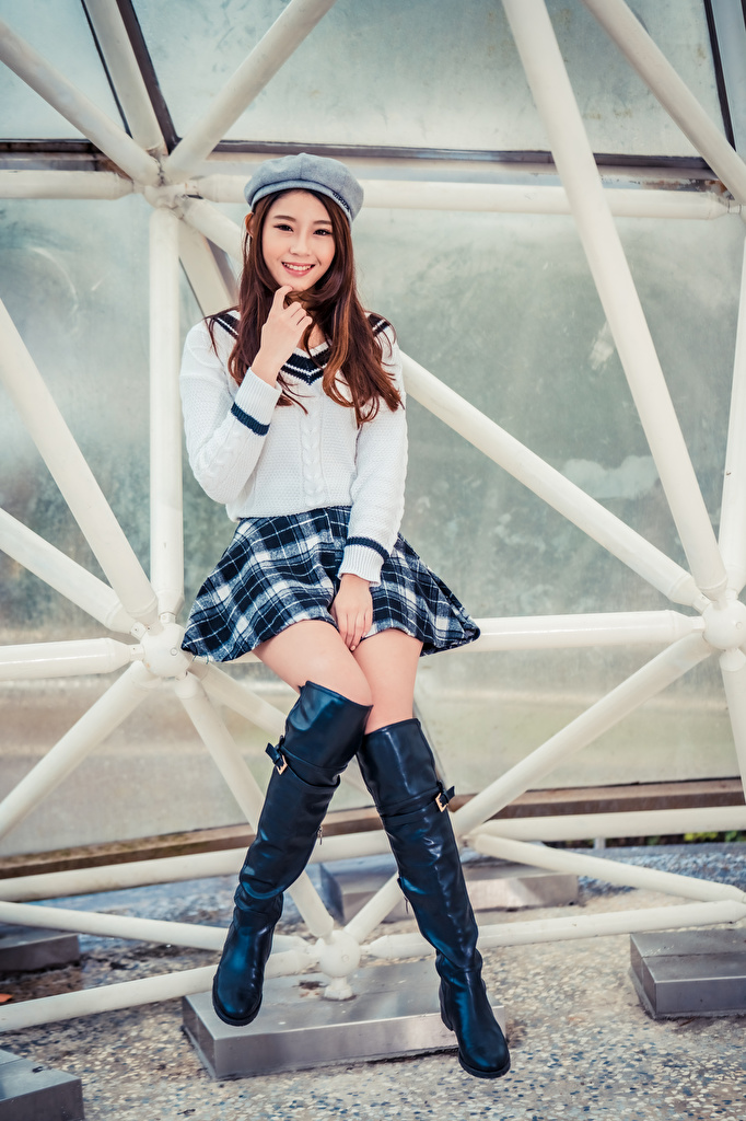 Images Skirt Brown haired Smile Wearing boots Beret Girls Asian Sitting Glance  for Mobile phone female young woman Asiatic sit Staring