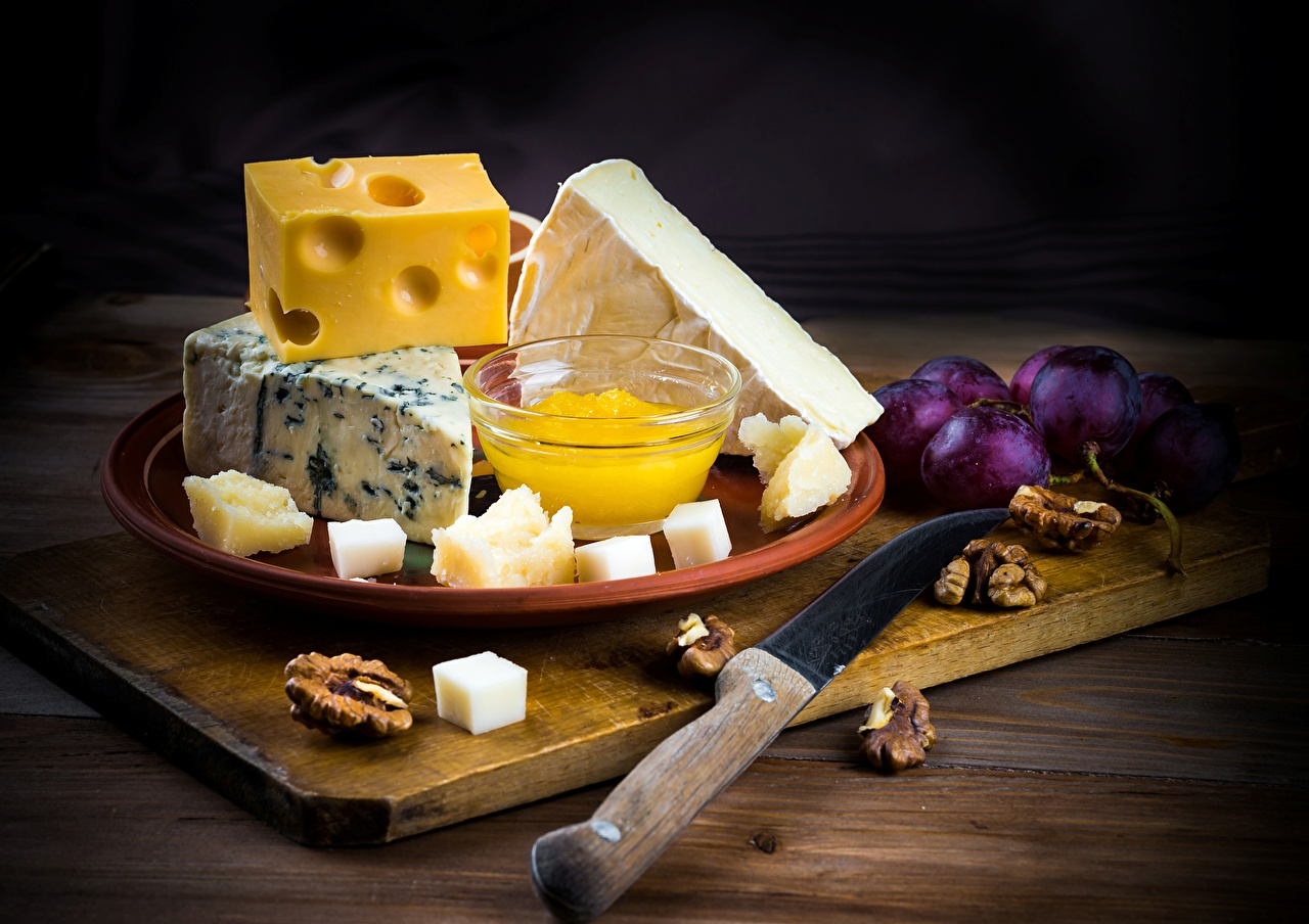 Desktop Wallpapers Knife Cheese Food Cutting board Nuts