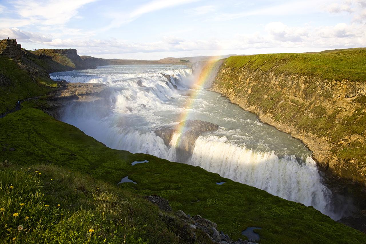 Foto Island Seljalandsfoss Natur Wasserfall Regenbogen Gras