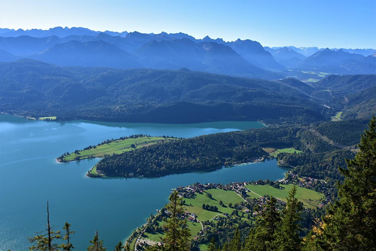 壁紙 山 湖 ドイツ Walchensee バイエルン州 上から 自然
