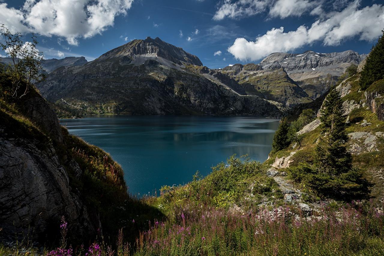 Desktop Wallpapers Alps Switzerland Nature Mountain Lake