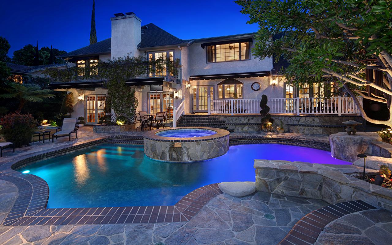 Wallpaper Villa USA Swimming bath Laguna Hills Evening Cities Building Design Pools Houses