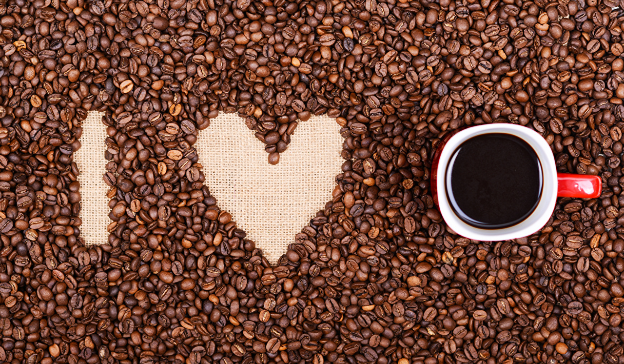 Wallpaper Valentine's Day Heart Coffee Grain Cup Food