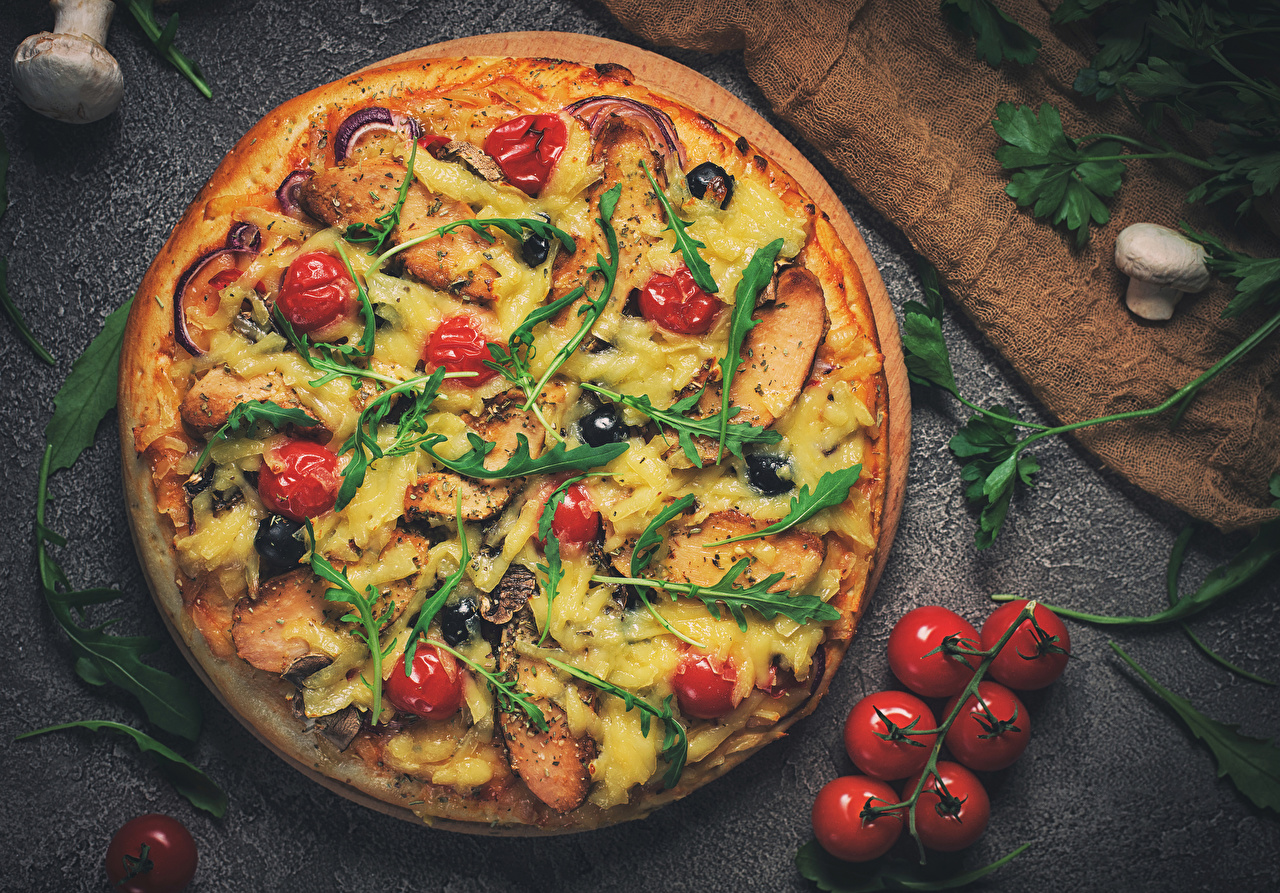 Images Pizza Tomatoes Mushrooms Fast food Food