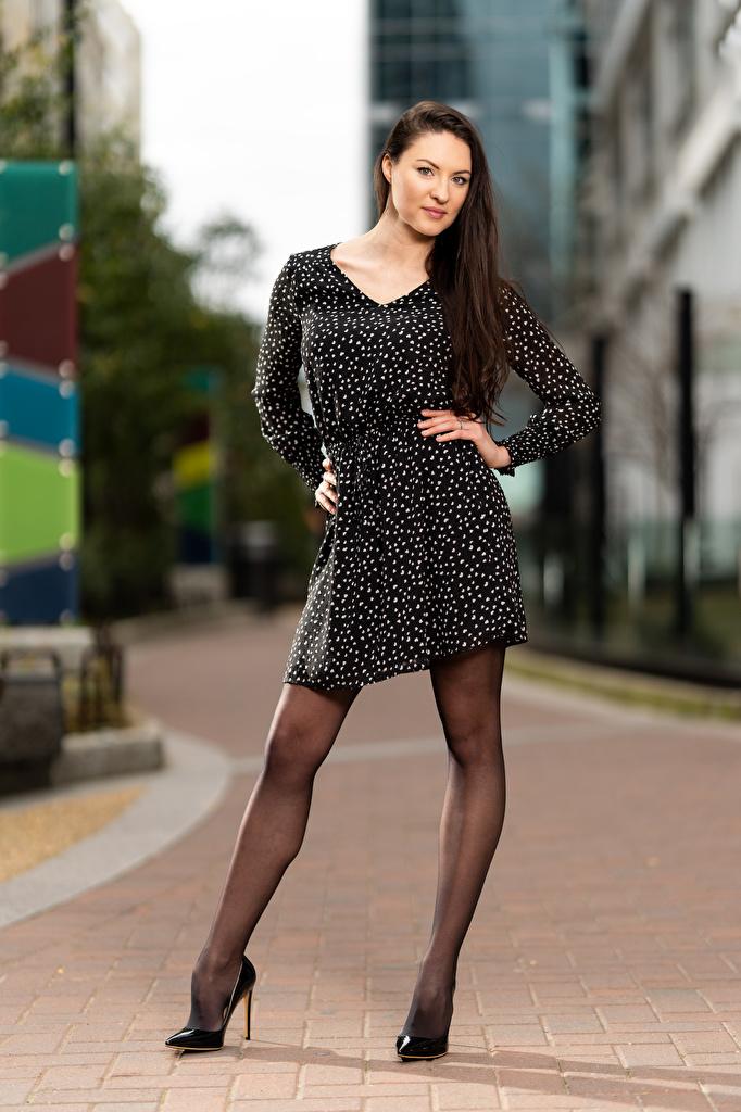 Tapeta na pulpit Natalia Larioshina modelka Bokeh Poza dziewczyna Nogi Spojrzenie Sukienka  dla Telefon komórkowy Modelka rozmazane tło pozować Dziewczyny młoda kobieta młode kobiety wzrok