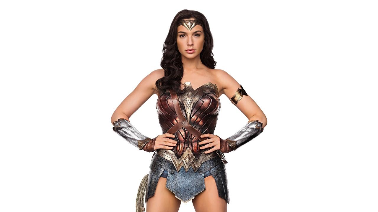Desktop Wallpapers Wonder Woman (2017 film) Gal Gadot Wonder Woman hero Warriors female film Celebrities White background warrior Girls young woman Movies