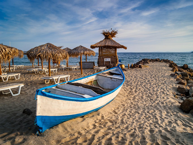 Desktop Wallpapers Bulgaria beaches Nature Sand Coast Boats Umbrella Sunlounger Beach parasol