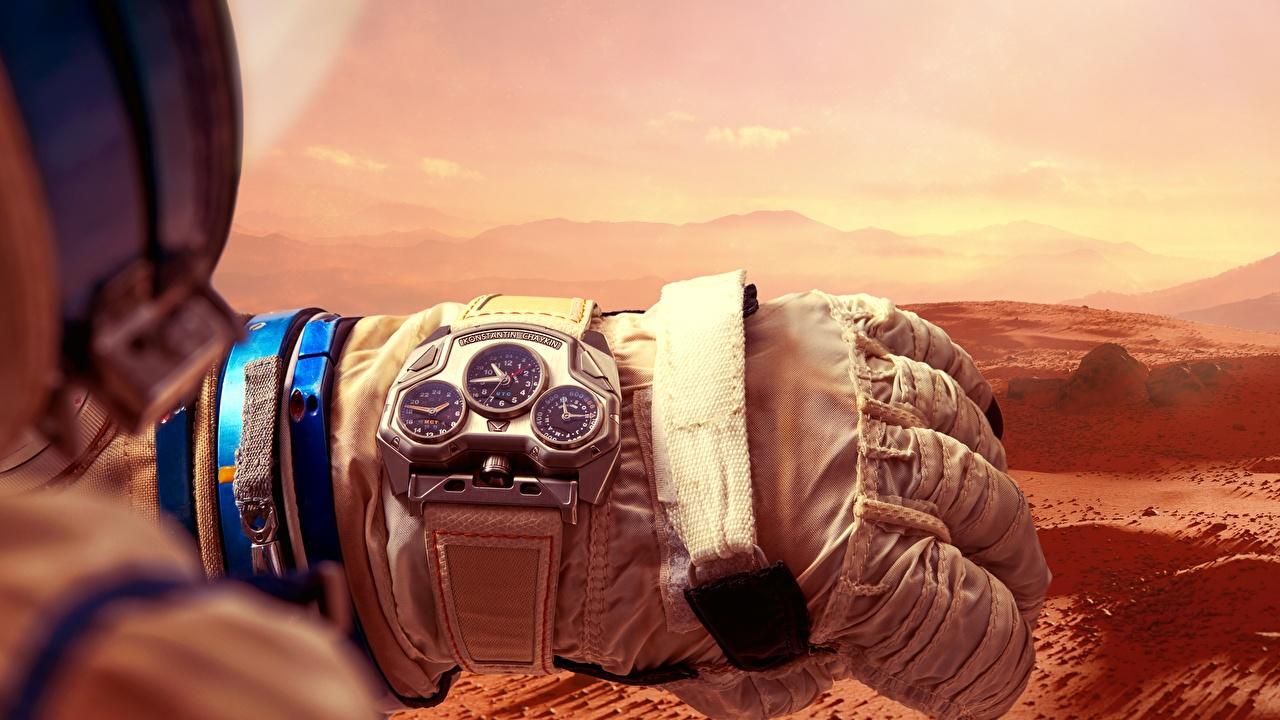 Afbeelding handschoen Konstantin Chaykin, Mars Conqueror Polshorloge Klok Handschoenen