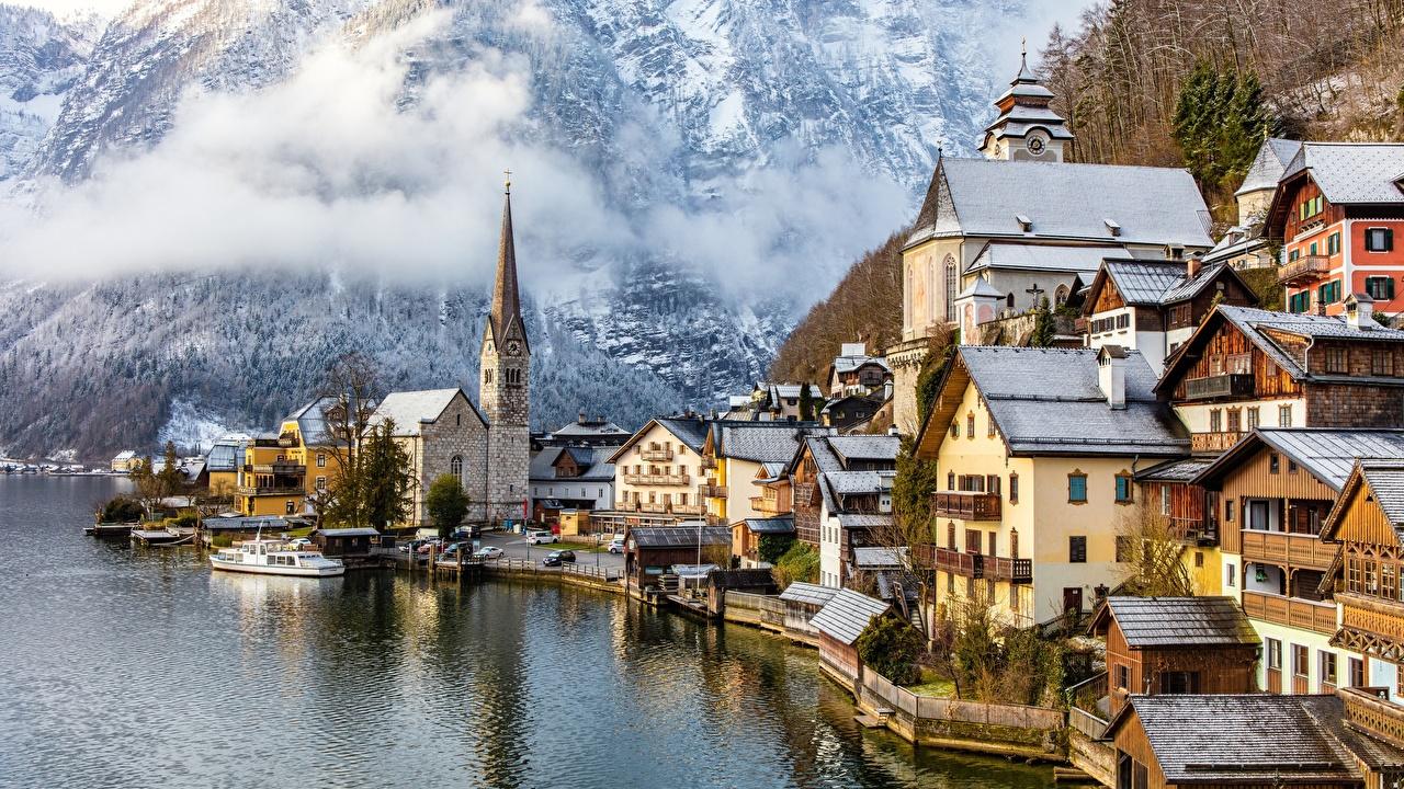 Desktop Wallpapers Hallstatt Austria Gmunden County Lake Houses Cities Building