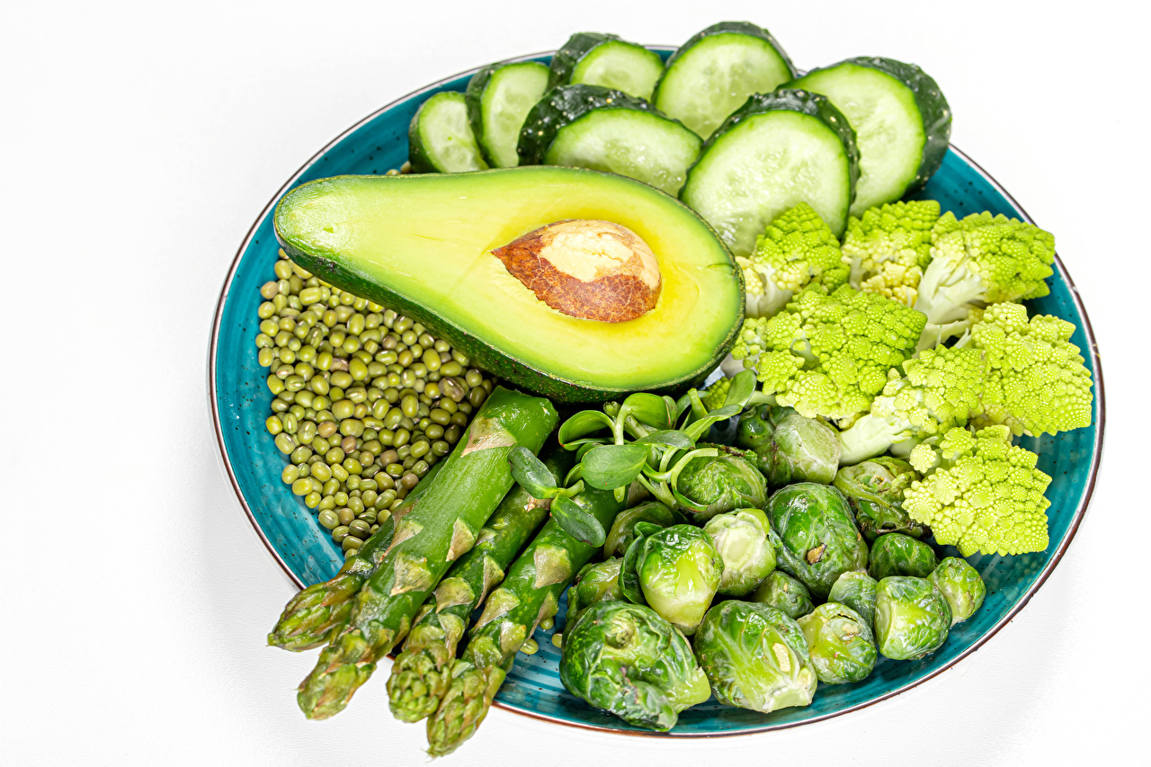 Picture Asparagus Cucumbers Green peas Avocado Food Plate Vegetables White background