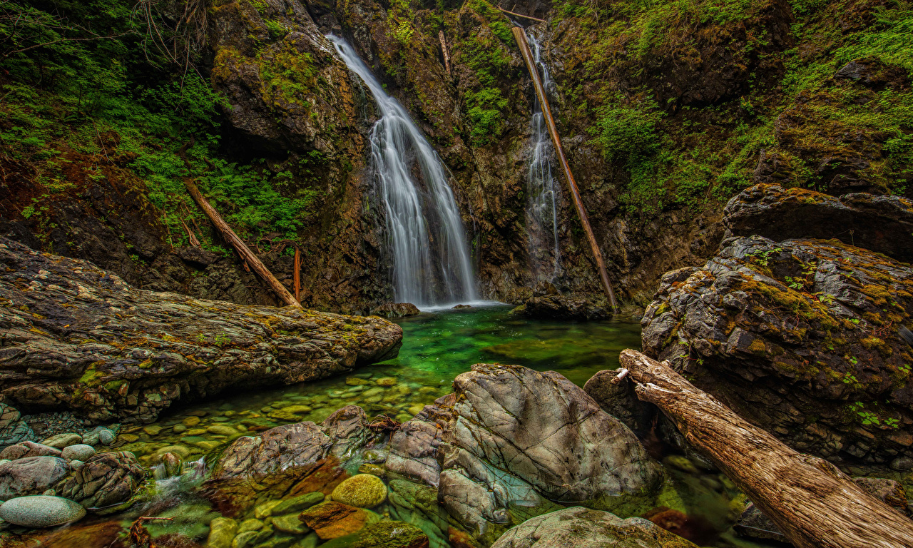 Pictures Vancouver Canada Nahmint Wilderness HDR Crag Nature Waterfalls Moss Stones HDRI Rock Cliff stone