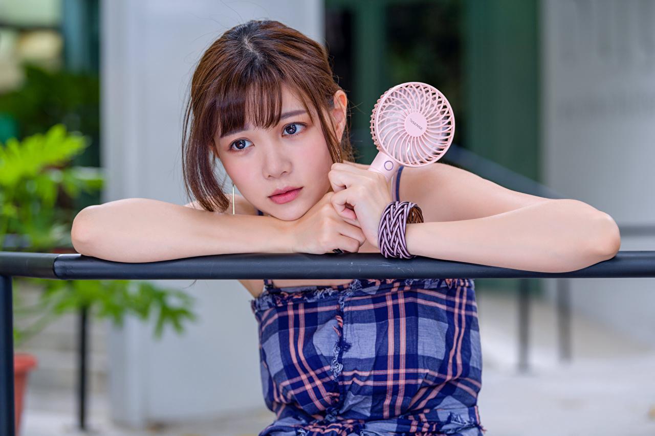 Fotos Braunhaarige Süß Mädchens asiatisches Hand Blick Braune Haare nett süße süßes süßer niedlich junge frau junge Frauen Asiaten Asiatische Starren
