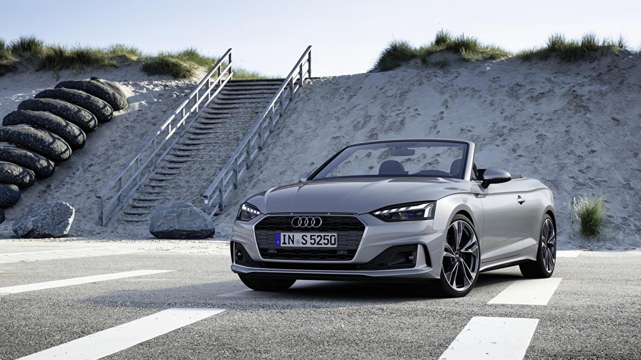 Fotos Audi A5, 2019 Roadster graues Autos Metallisch Grau graue auto automobil