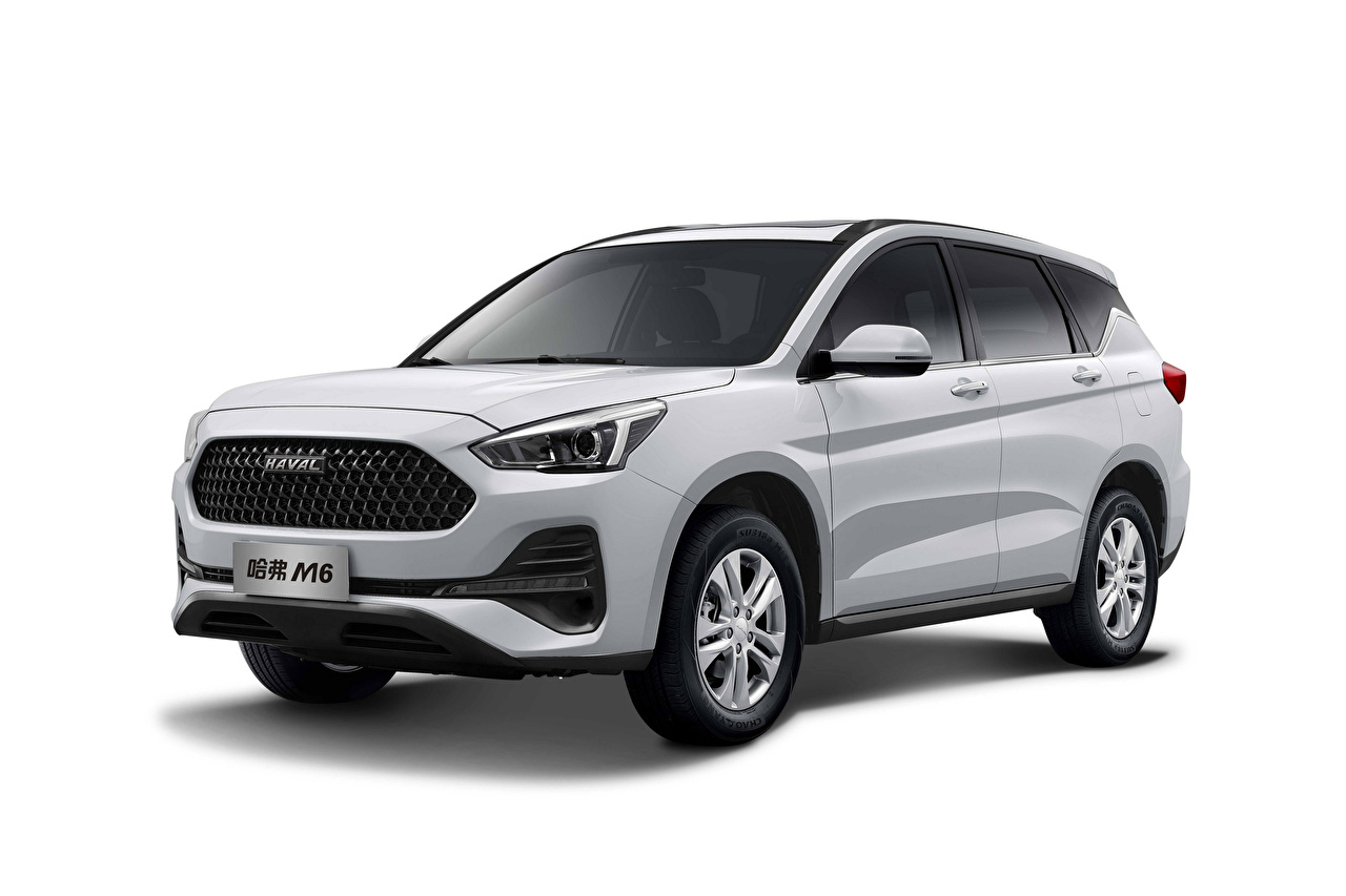 Images Haval Chinese CUV M6, 2019 White Cars White background Crossover auto automobile