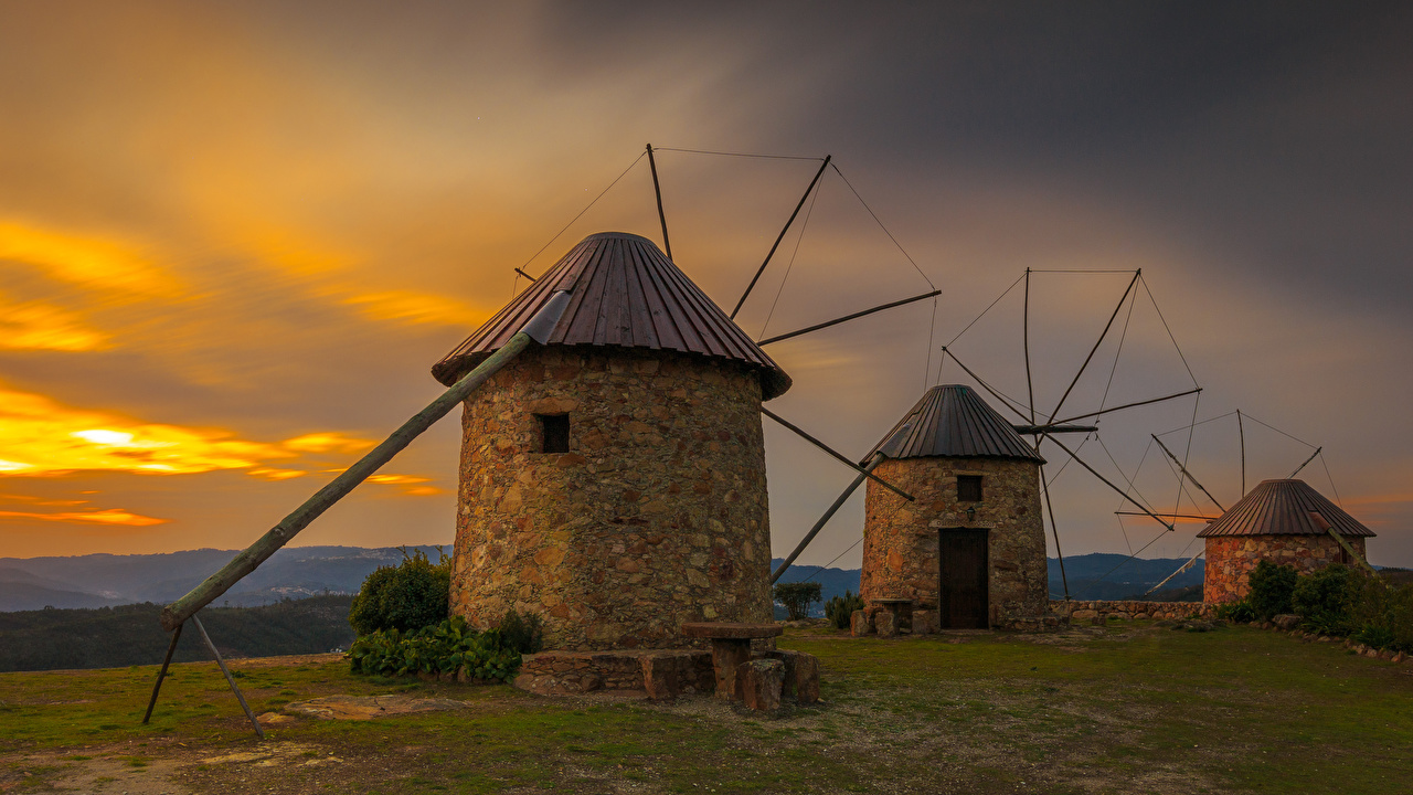 Pictures Portugal windmill Coimbra Nature Sunrises and sunsets Mill windmills sunrise and sunset