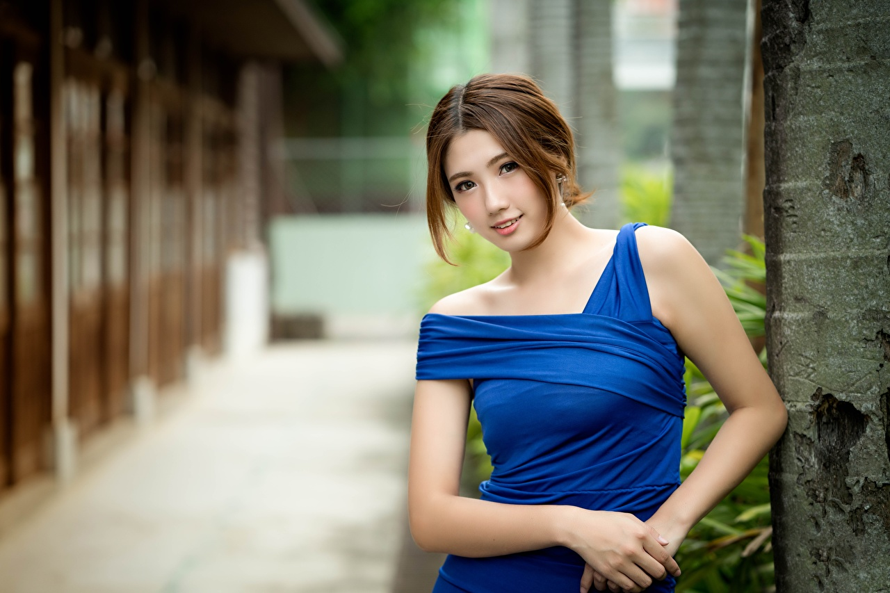 Wallpaper Brown haired Bokeh Beautiful young woman Asiatic Hands Glance Dress blurred background Girls female Asian Staring gown frock