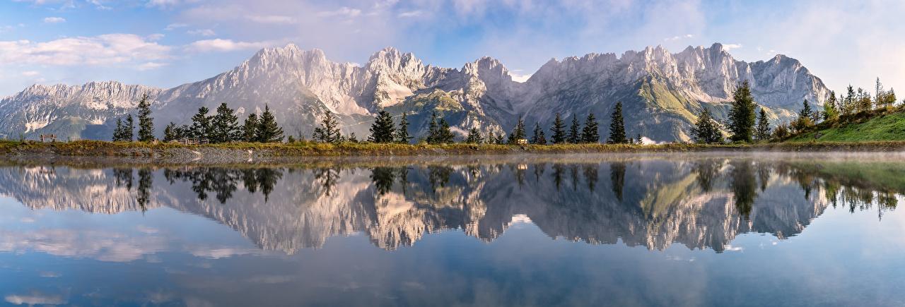 Bilder Alpen Österreich Panorama Tyrol Natur Gebirge See Reflexion Landschaftsfotografie Panoramafotografie Berg spiegelt Spiegelung Spiegelbild