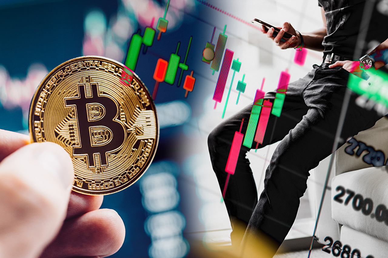 Photo Coins Bitcoin Business blurred background Money Fingers Bokeh
