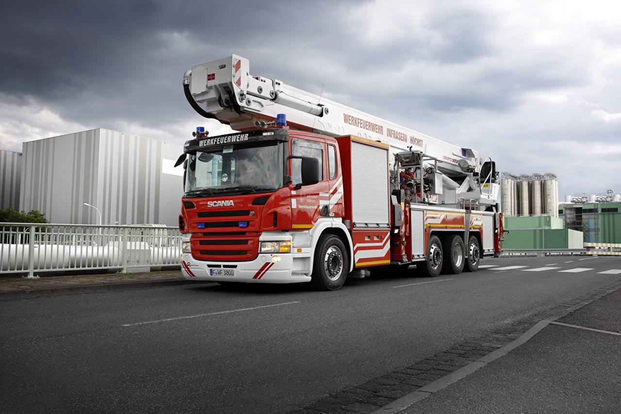 Photo lorry Scania Fire engine Cars Trucks auto automobile