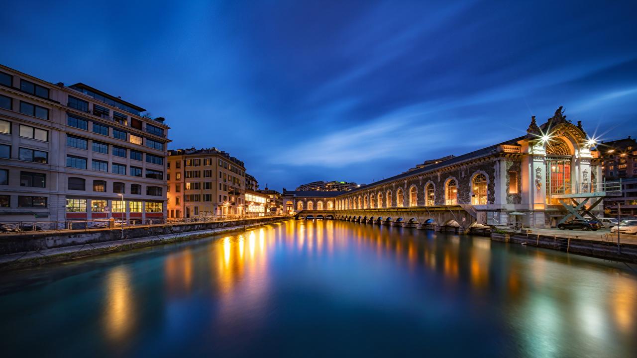 Desktop Wallpapers Switzerland Geneve river Cities Building Rivers Houses