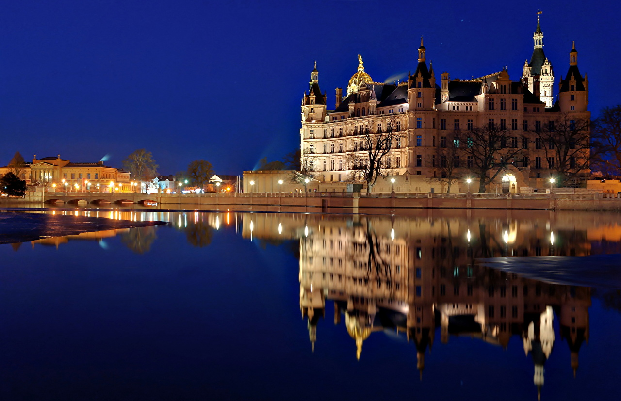 Photos Germany Schwerin Castles Water Night Cities castle night time