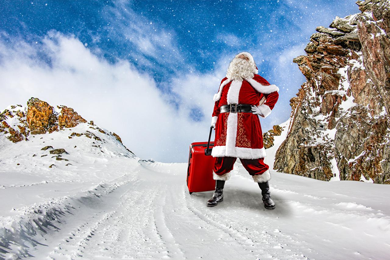 Foto Neujahr Winter Weihnachtsmann Koffer Schnee