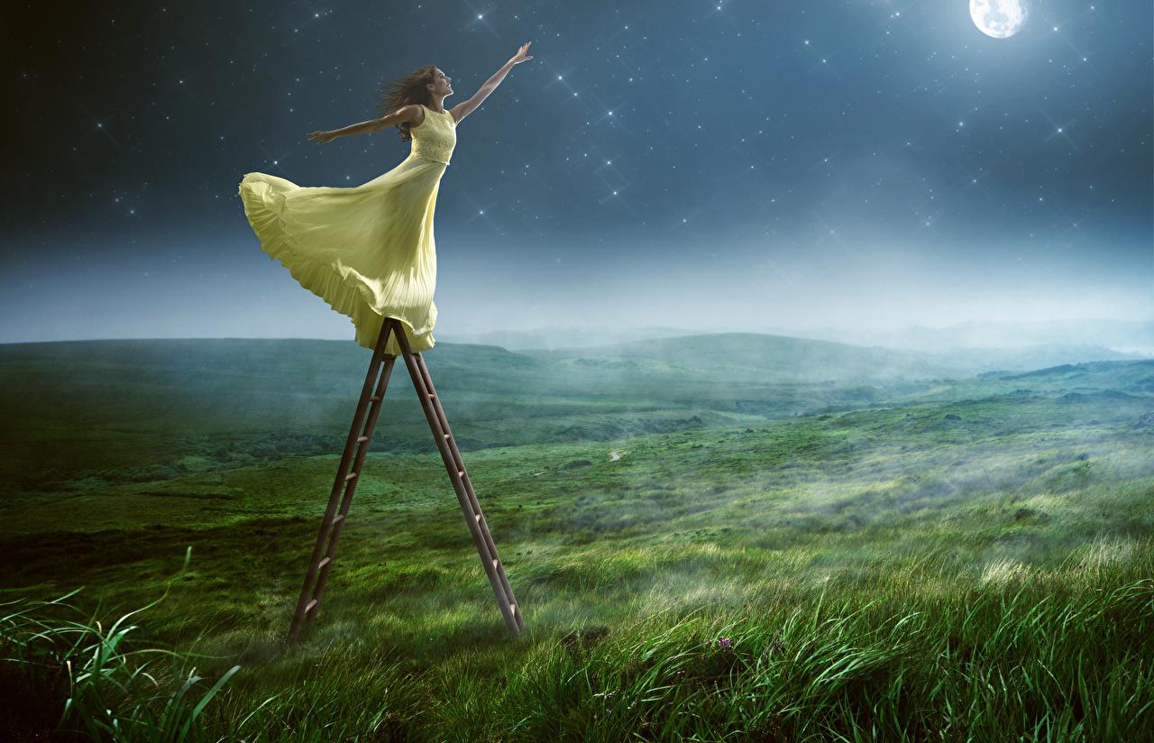 Hintergrundbilder Braunhaarige Treppe Mädchens Acker Hand Nacht Kleid Braune Haare Stiege Felder
