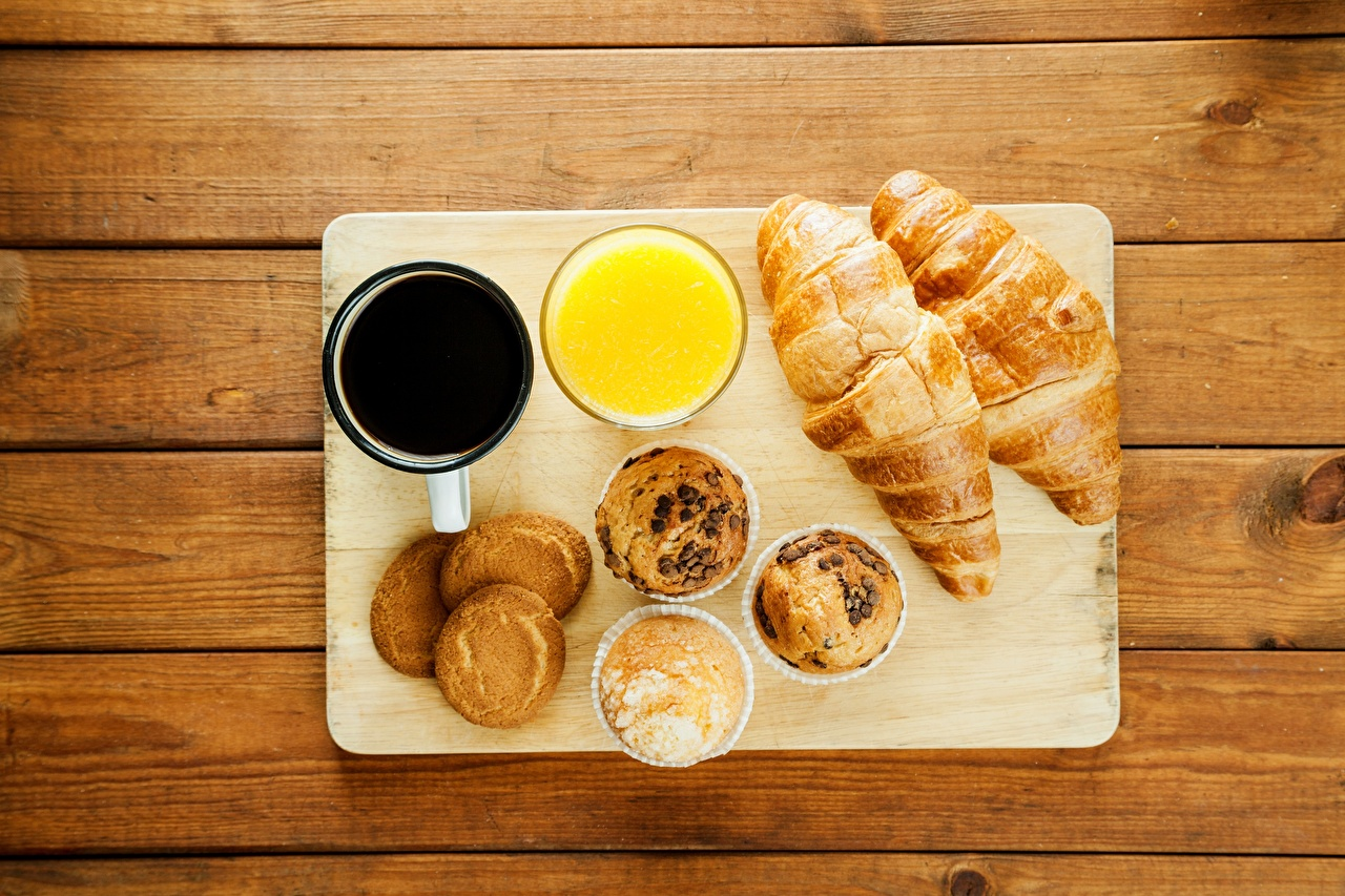 Foto Keks Kaffee Croissant Fruchtsaft Frühstück Lebensmittel Saft das Essen