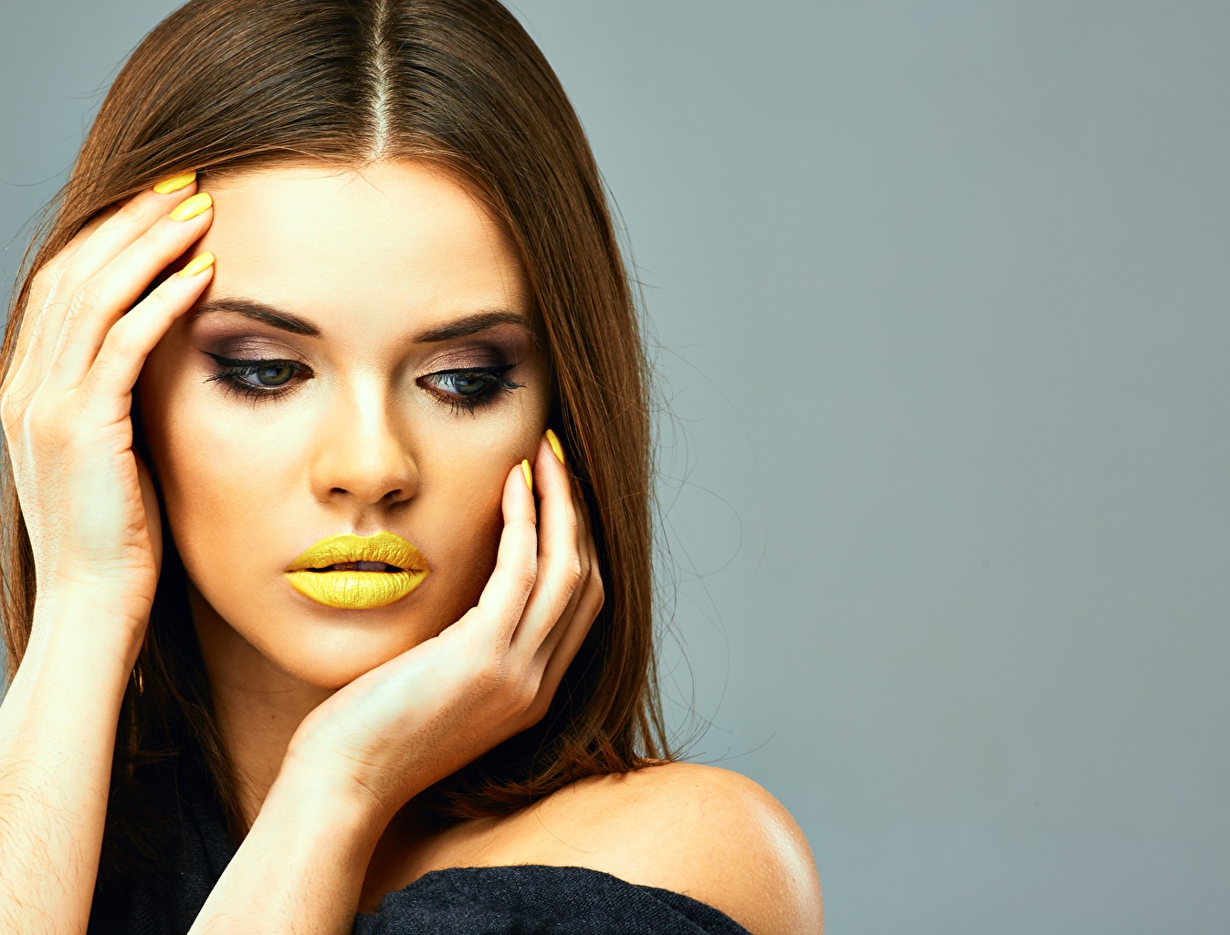 Wallpaper Brown haired Model Manicure Makeup Girls Lips Hands Gray background Modelling female young woman