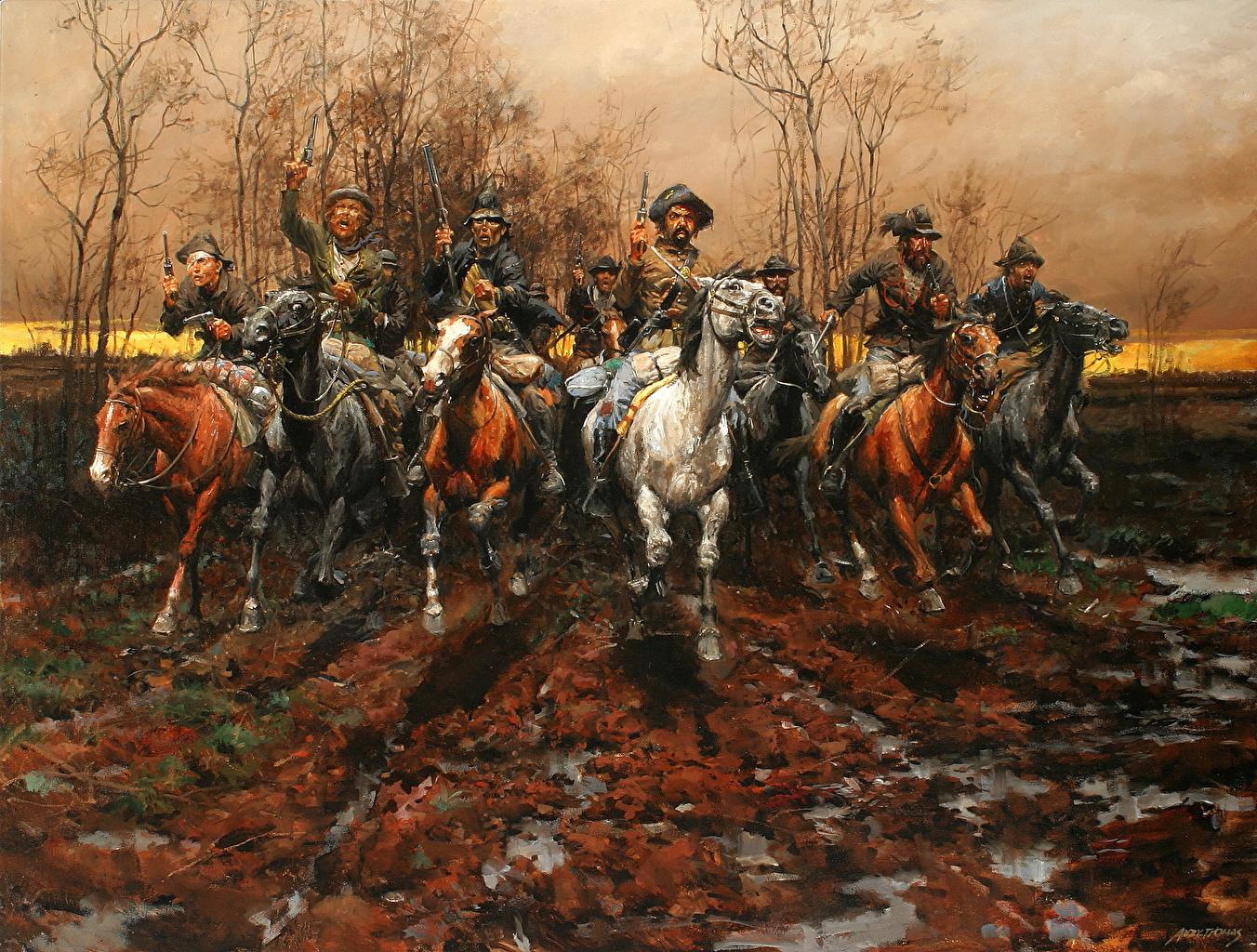 Afbeelding Paarden een man Andy Thomas, The Guerrillas Schilderkunst paard Mannen schilderij
