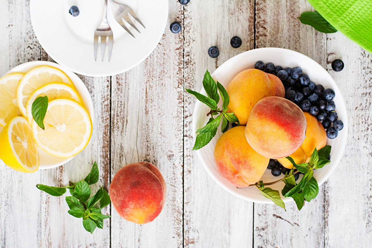 Photo Lemons Peaches Blueberries Food Wood planks boards