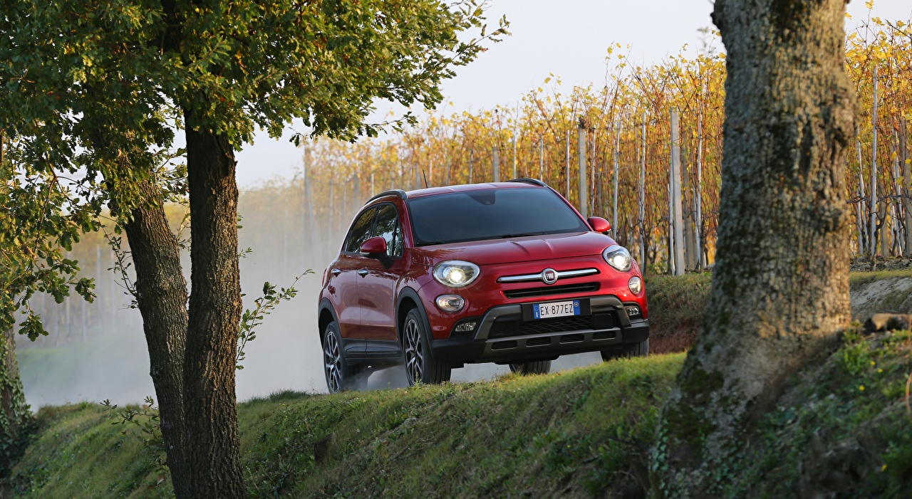 Images Fiat Crossover 500X, Cross, 2015 Red auto Front CUV Cars automobile