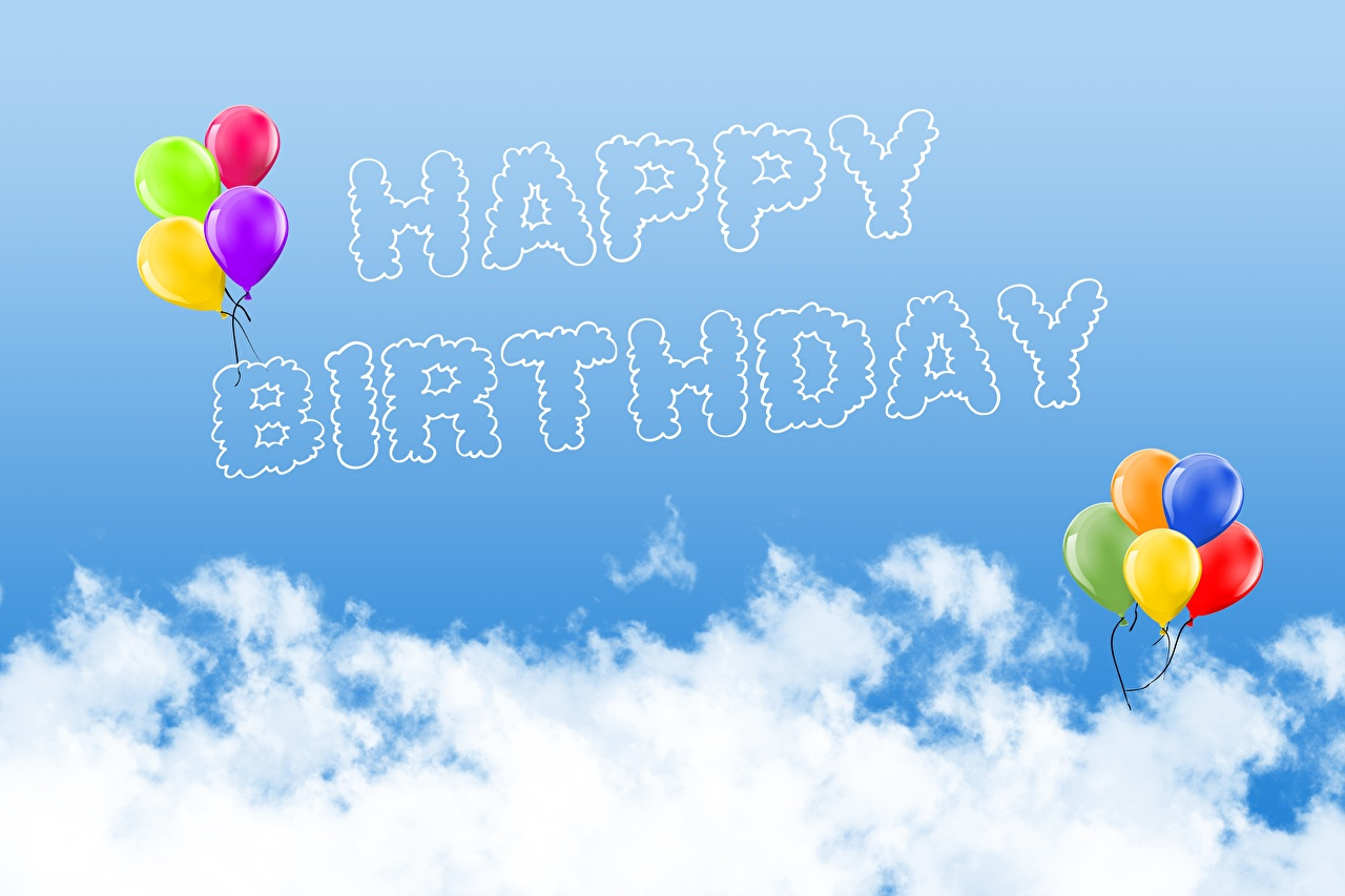 Photos Birthday English balloons Word - Lettering Clouds Toy balloon text lettering