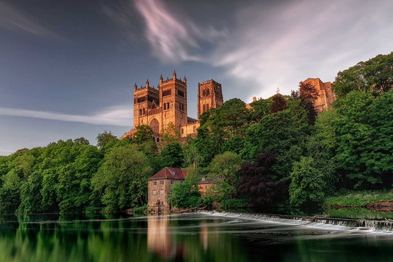 Desktop Wallpapers England Durham City Nature Waterfalls Rivers Trees Houses Cities river Building