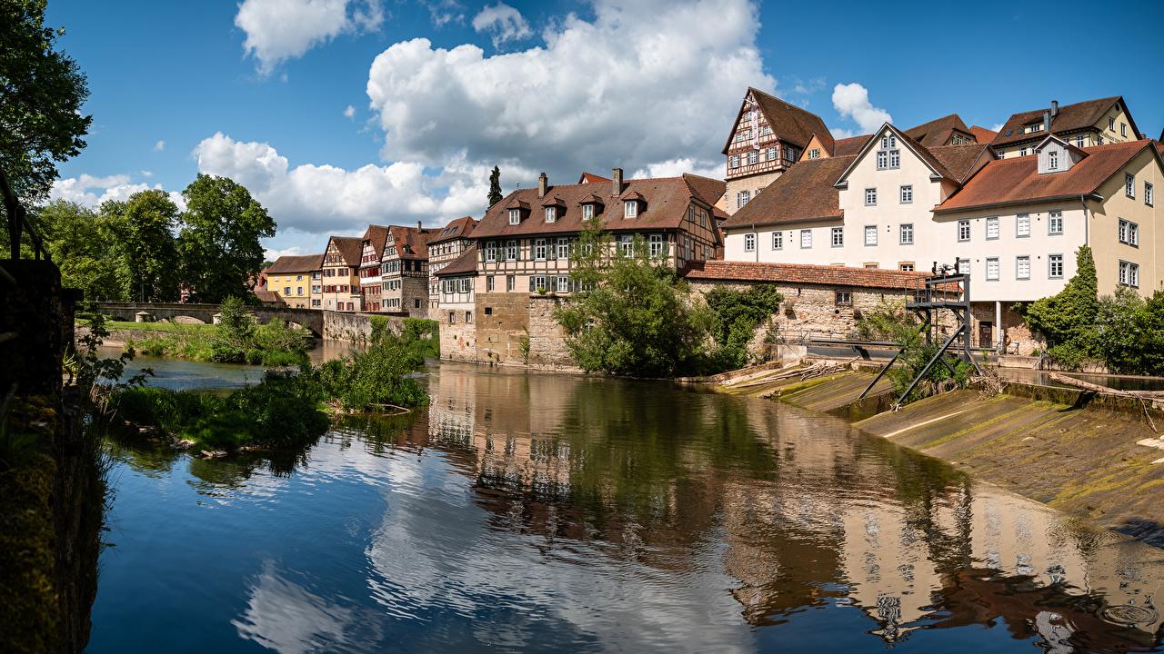 Bilder von Deutschland Flusse Haus Wolke Städte Fluss Gebäude