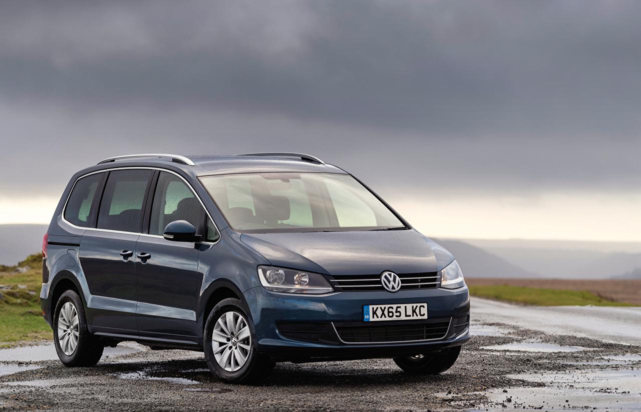 Bilder Volkswagen 2015-19 Sharan Blau Autos auto automobil