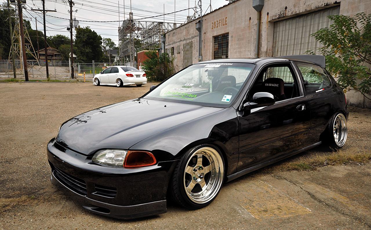 Photos Honda Civic eg6 Stance BellyScrapers Low CCW Black Cars Metallic auto automobile