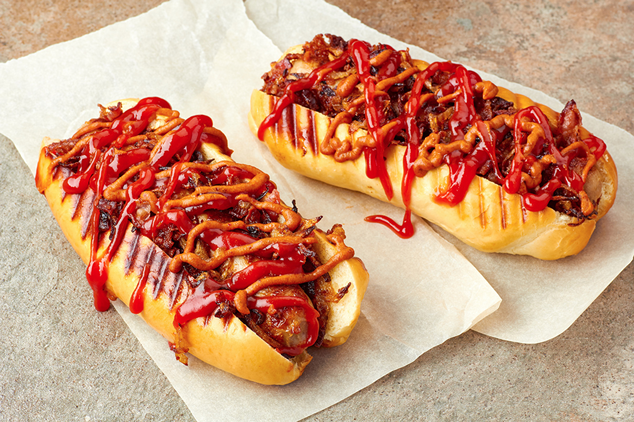 Images 2 Hot dog Buns Ketchup Fast food Food Two