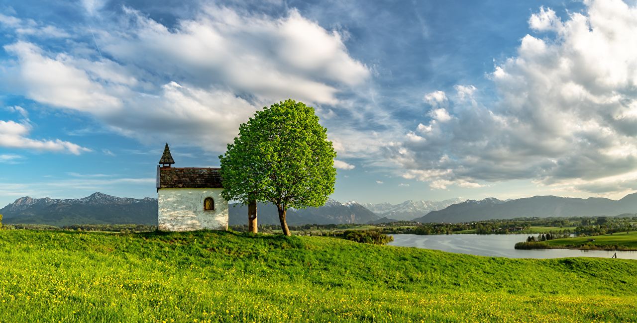 Images Bavaria Germany Nature river Trees Clouds Rivers