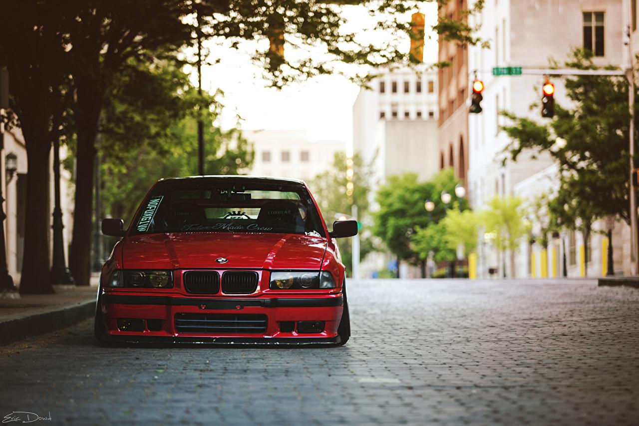 、BMW、E36、赤、ストリート、自動車、