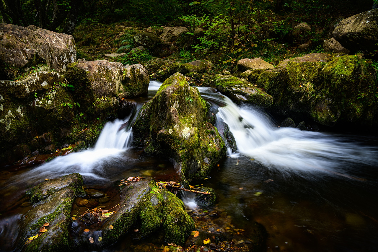 Desktop Wallpapers England Lake District, Ullswater, Cumbria Nature Creeks forest Moss stone brook Creek Stream Streams Forests Stones