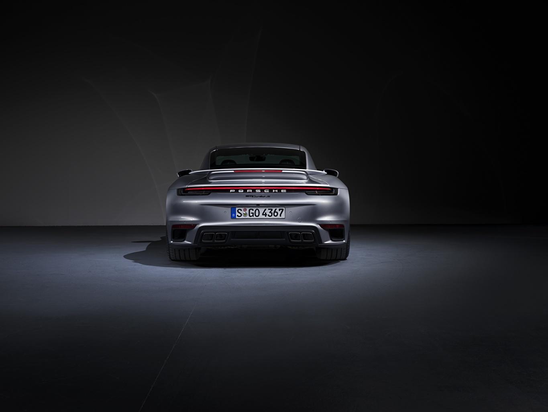 Desktop Wallpapers Porsche Turbo S 2020 992 Silver color Back view automobile Cars auto