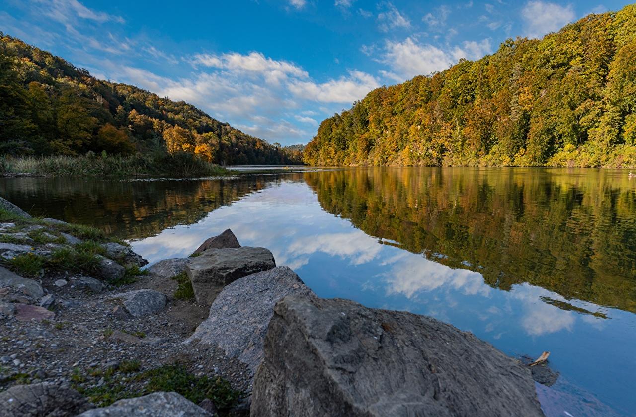 ,河流,石,秋季,森林,瑞士,Rhine,,大自然,