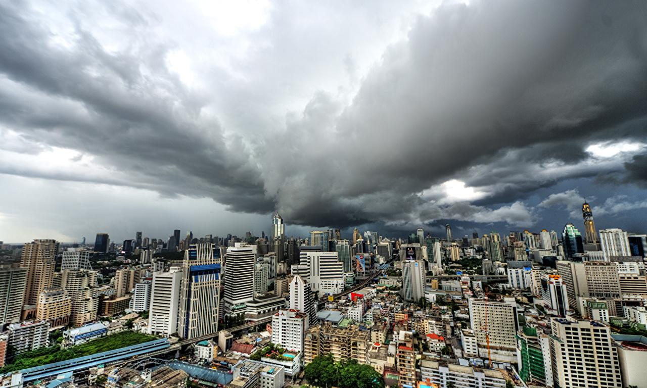 Bilde Bangkok Thailand Megalopolis Hus byen Skyer Byer en by bygning bygninger