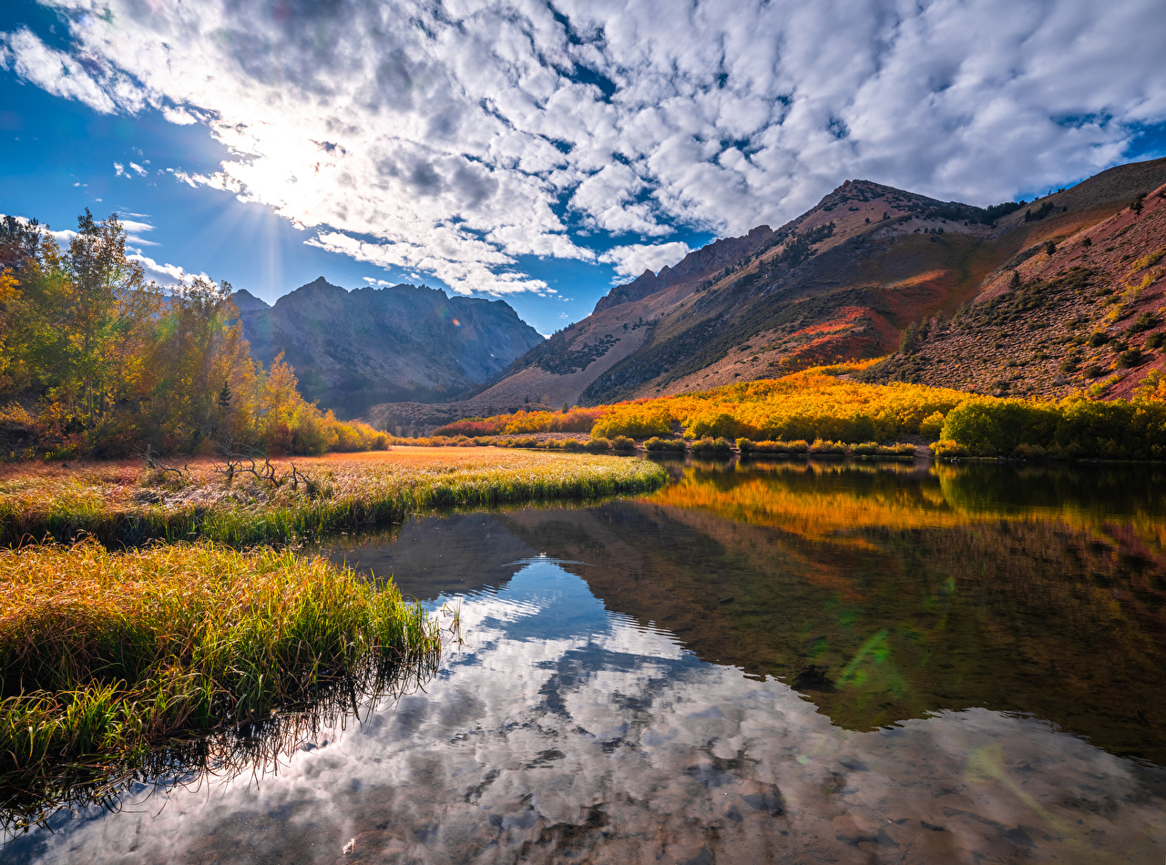 Photo USA Kebler Pass Nature Autumn Mountains landscape photography river Clouds mountain Scenery Rivers