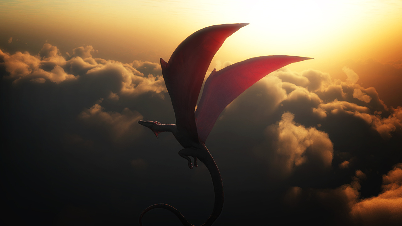 Wallpaper Dragons Wings Fantasy Sky Flight Clouds dragon