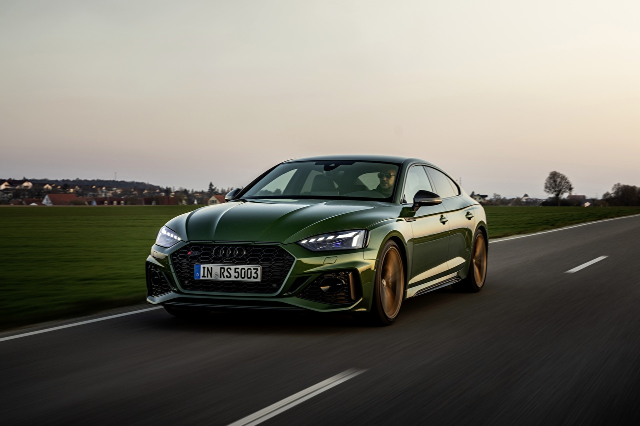 Desktop Wallpapers Audi RS5 Sportback, 2020 Green Roads driving Metallic automobile Motion riding moving at speed auto Cars