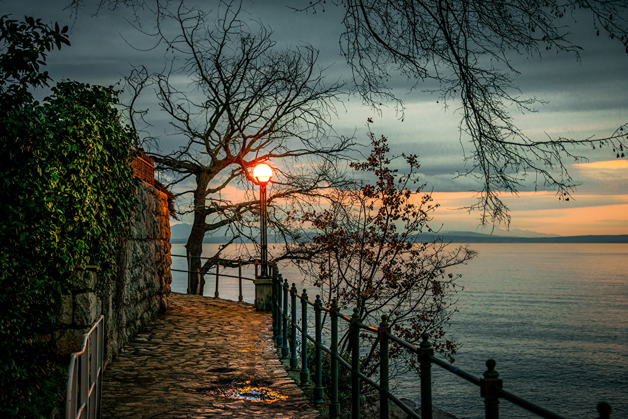 Photos Opatija Croatia Nature Fence sunrise and sunset Rivers Branches Trees Sunrises and sunsets river