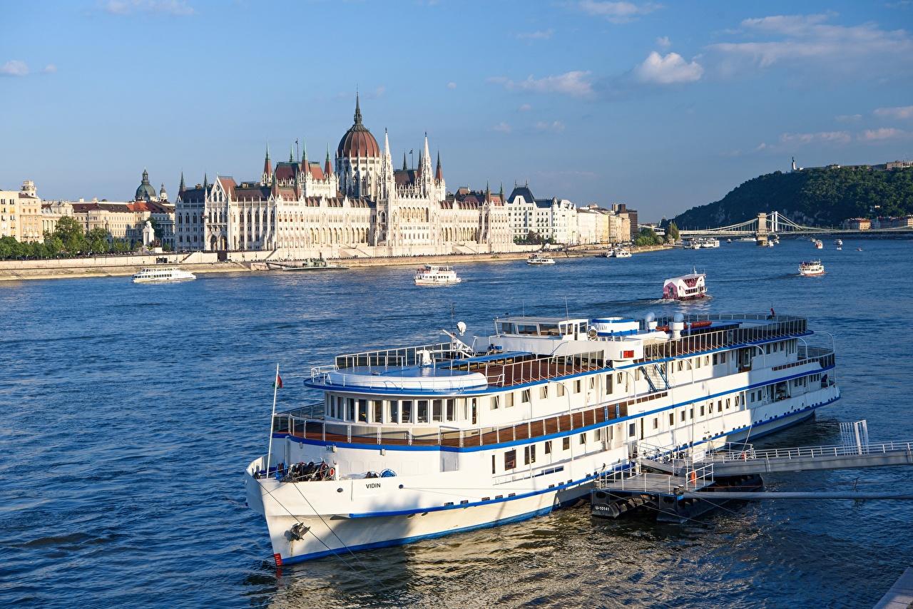 Bilder Budapest Ungarn Parliament, Danube Brücke Binnenschiff Fluss Städte Brücken Flusse