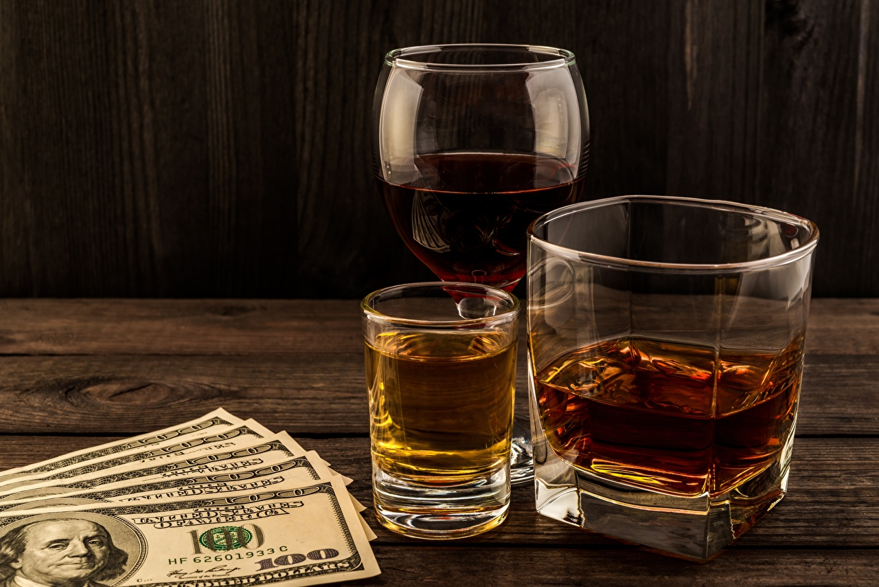 Wallpaper Dollars Banknotes Alcoholic drink 100 Whisky Highball glass Food Shot glass Paper money whiskey